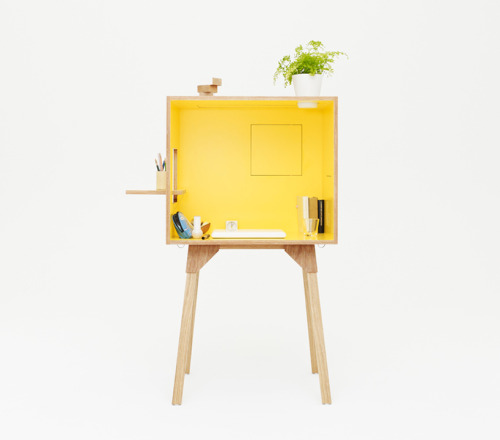 ∞ Koloro Desk:  The 'koloro - desk' is a workstation which has three flip-out windows on each of its vertical sides, along with a 'skylight', making the unit feel more open and accessible when desired. in this manner, the openings double-function as shevles for displaying small objects.  Via It's About Interior.
