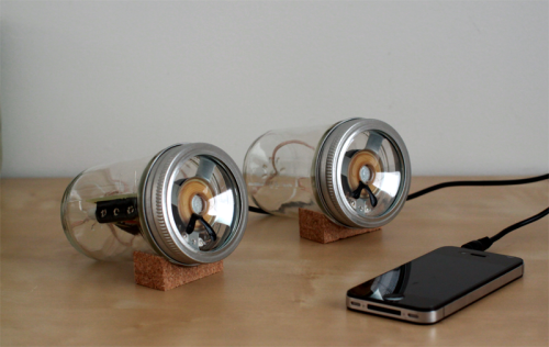 """A simple housing for David Mellis' open-source Fab Speakers. Using readily available household items and basic construction methods allow for even further customization and flexibility of the Fab Speakers."""