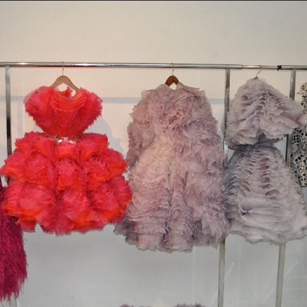 Gorgeous ruffles at Alexander McQueen #pfw  (Taken with instagram)