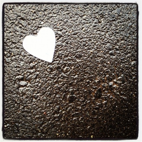 heart on the sidewalk after Valentine's Day