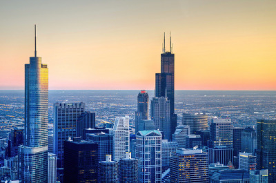 """Pic of the Day"" — ""Towers"" by topmedic  The Trump and Sears towers, shot from the Hancock.  Do you have a Chicago-related photo you think is worthy of being our ""Pic of the Day""? Submit it!"