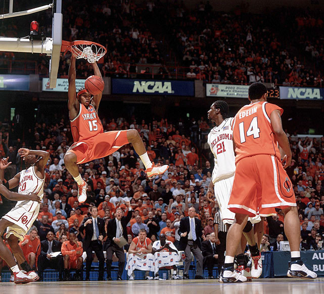 Syracuse forward Carmelo Anthony converts a dunk during an Elite Eight game against Oklahoma in the 2003 NCAA Tournament. The Orange will likely be a No. 1 seed when the tournament field is announced Sunday. (Damian Strohmeyer/SI) GLOCKNER: UConn likely secures tourney spot and other bubble notesGALLERY: Iconic Photos of Syracuse BasketballGLOCKNER: Projecting the field of 68 with four days left