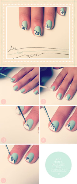 """The Bow Mani"" or the ""Breakfast at Tiffany's"" Nail Tutorial by The Beauty Department! I love this! Click the link to get the full instructions! You might turn out to be as chic as Audrey Hepburn!"