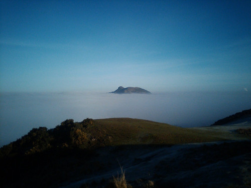 "Arthurs Seat in the haar 1 on Flickr. One from the archive. Fog over Edinburgh seen from the grand old height of 208m, running over the Braid Hills. The whole city is hidden.That's Arthur's Seat poking up through the haar (note for non-Scottish people: a.k.a. sea fog, ""fret""). Who says you have to go up an Alp to experience the thrill of a cloud inversion?"