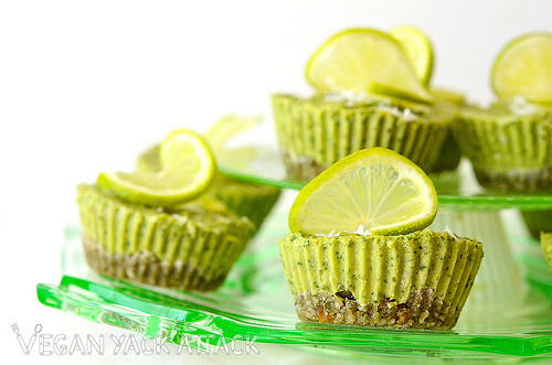 yackattack:  Raw Coconut Lime Mini Pies One bite of this creamy, cool pie and you'll be more than glad that you cut into this cute dessert. With vibrant notes of lime from the fresh juice and zest, mellower flavors from the coconut and avocado and a slightly vanilla crust, you may find yourself indulging in another one. Get this recipe and more at Vegan Yack Attack!