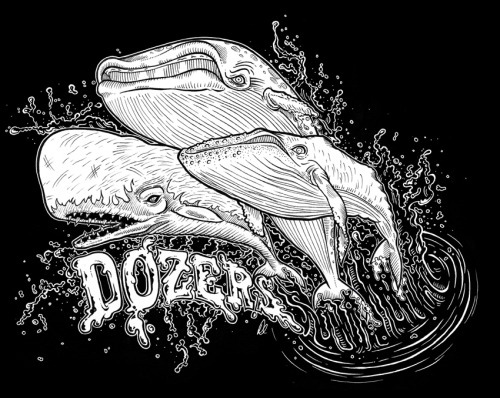 Here's a T-Shirt design I did for a rad Melbourne band called DOZERS. Keeping in theme with stating the obvious… here you have a gang (not pod) of whales. A Humpback Whale, Sperm Whale and Blue Whale, all 'breaching' (thats the official term). Hope you like it.