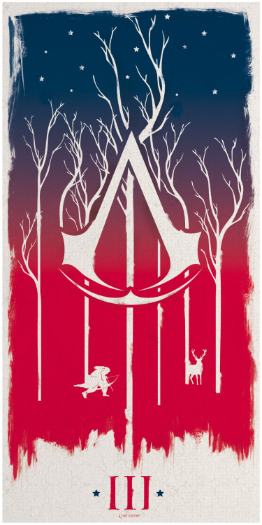RED, WHITE AND BLUE (ASSASSINS CREED III Inspired) Poster