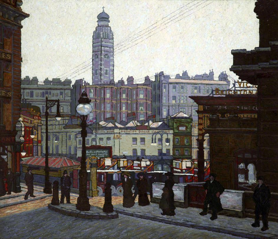 thorsteinulf:  Charles Ginner - Victoria Station, London, the Sunlit Square (1913).