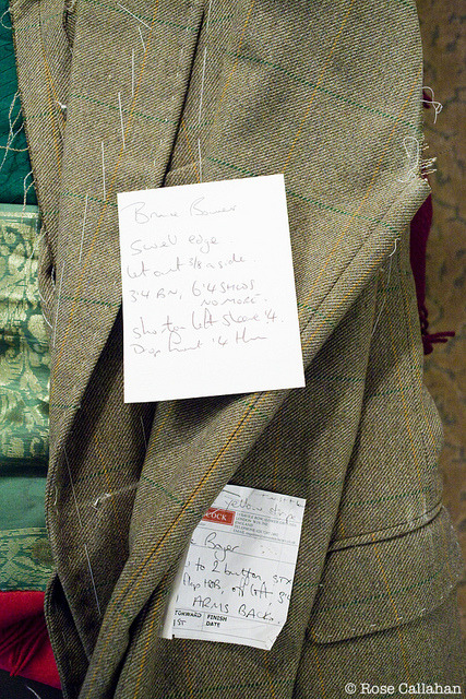 Steven Hitchcock's notes on Bruce Boyer's jacket photographed by Rose Callahan in NYC on Jan 23, 2012 from The Dandy Portraits