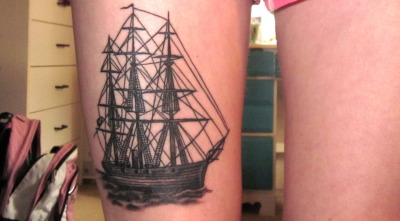 fuckyeahtattoos:  Got this one for my Dad just last week. The historic naval ship is for his fascination with history and to honor his service as a U.S. Navy Vietnam Veteran (The rear end says his name, Ray).