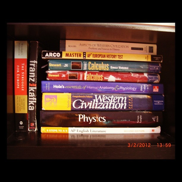 I don't think I've ever had so many textbooks in my life. (Taken with instagram)