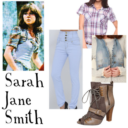 "Sarah Jane Smith from ""Planet of Evil""   Forever 21 plaid top, $8.75Vest, $20Highwaisted jeans, £30Grey lace up boots, £8"