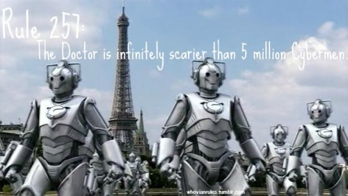 Rule 257:The Doctor is infinitely scarier than five million Cybermen.  SUBMISSION!!! [Image Credit]