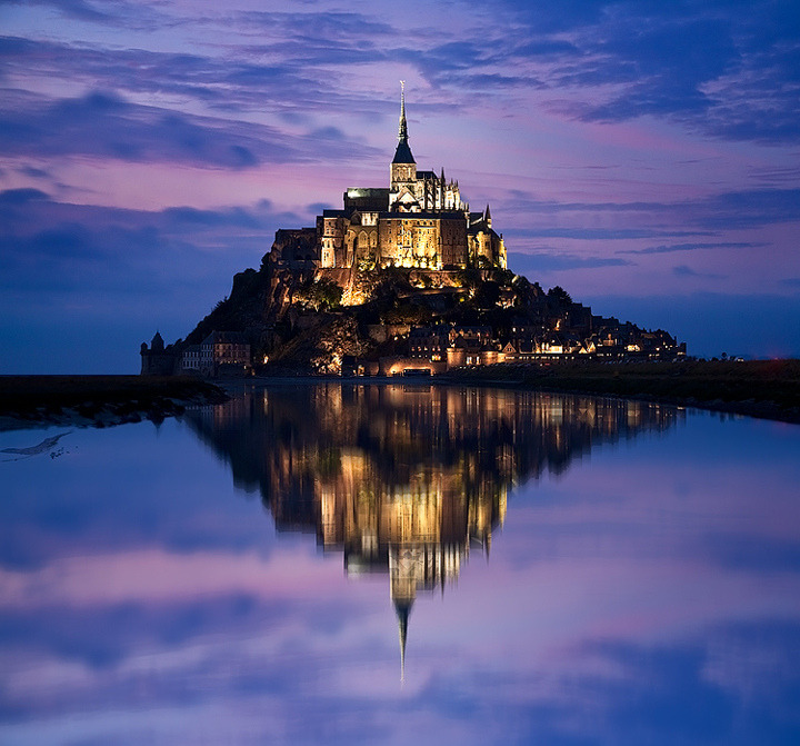 Dusk in Mont Saint-Michel, Normandie, France.