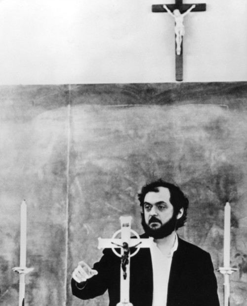 Kubrick on the set of A Clockwork Orange, 1971.