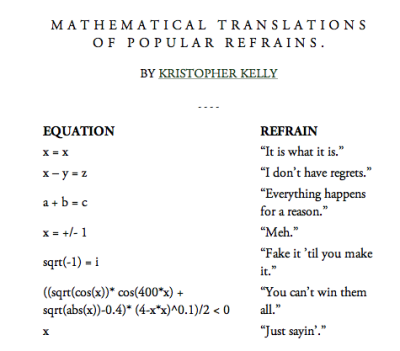 explore-blog:  McSweeney's mathematical translations of popular refrains. (via It's Okay to be Smart)