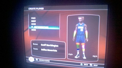 "This is the player I created in NBA Live 08.  He's a 7'6"" black man with a blonde afro and beard, born in Provo, Utah. He graduated from Rider University because somehow Rutgers isn't in the game (…?) and he's a 90+ in all of the ratings… I clearly have no fucking life to speak of."