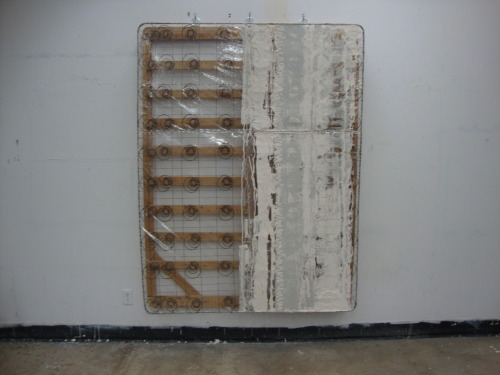 Chantelle Dion, mattress, 2011. mixed media on mattress frame.