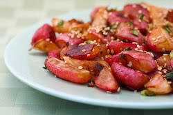 Roasted Radishes with Soy Sauce and Toasted Sesame Seeds  In case you're interested in the roasted radish recipe I used, I loosely followed this and added mushrooms in the last fifteen minutes of roasting.  I've never been fond of raw radishes (the only way I'd ever seen them), but I bought some because they looked nice and were on sale at the supermarket. I've got to say that cooking the radishes makes them so much more delicious and gets rid of that awful bitter radish taste. Also, if you're looking for a less carby alternative to roasted potatoes, I'd recommend this. The texture is less starchy and more waxy, but there's something really similar to roasted potatoes overall.