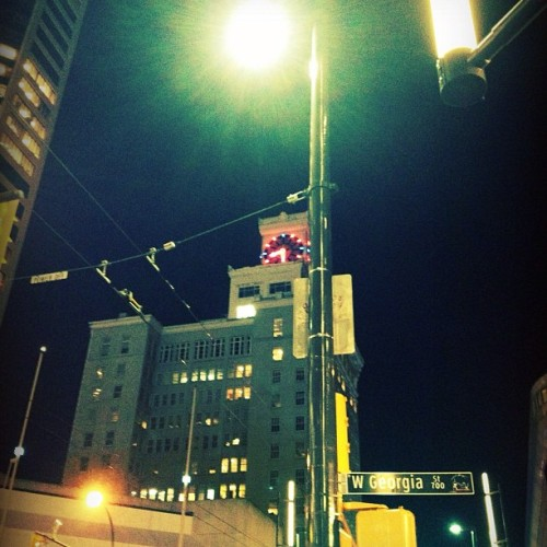 #architecture #clock #photography #city #lights #building #street #night   (Taken with instagram)
