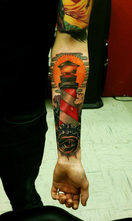 fuckyeahtattoos:  This is my lighthouse tattoo done by Hector Cedillo at The Unholy Grail in Worcester, MA.