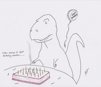 trextrying:  T-Rex Trying to Light Birthday Candles… #TRexTrying  For your Friday afternoon LULZ.