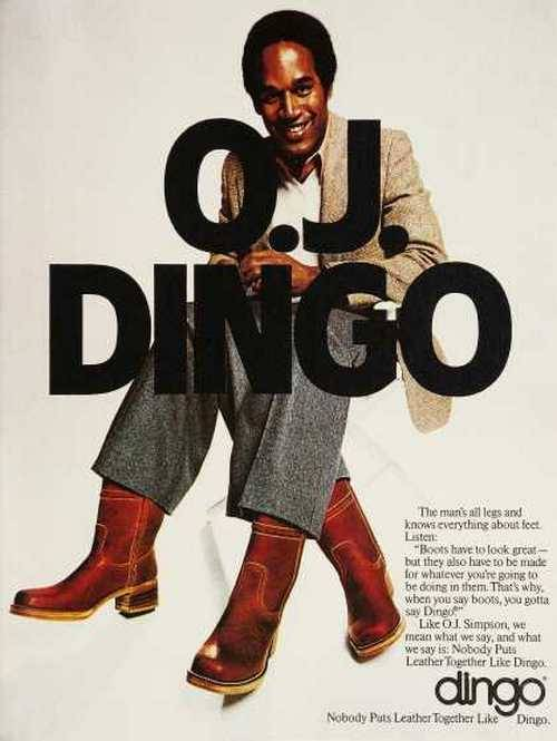 superseventies:  O.J Simpson Dingo boots advertisement.