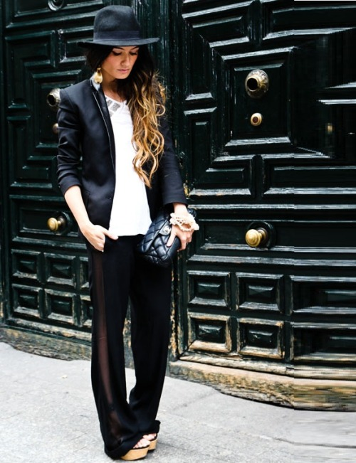 what-do-i-wear:  PANTS Zara New Collection, BLAZER Topshop, T-SHIRT Zara, BAG Chanel, SHOES Local Store Punta Cana, EARRINGS Sandra Palomar (image: madamederosa)