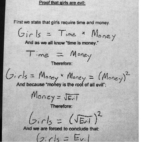 Mathematically speaking… #funny #girls #math  (Taken with instagram)