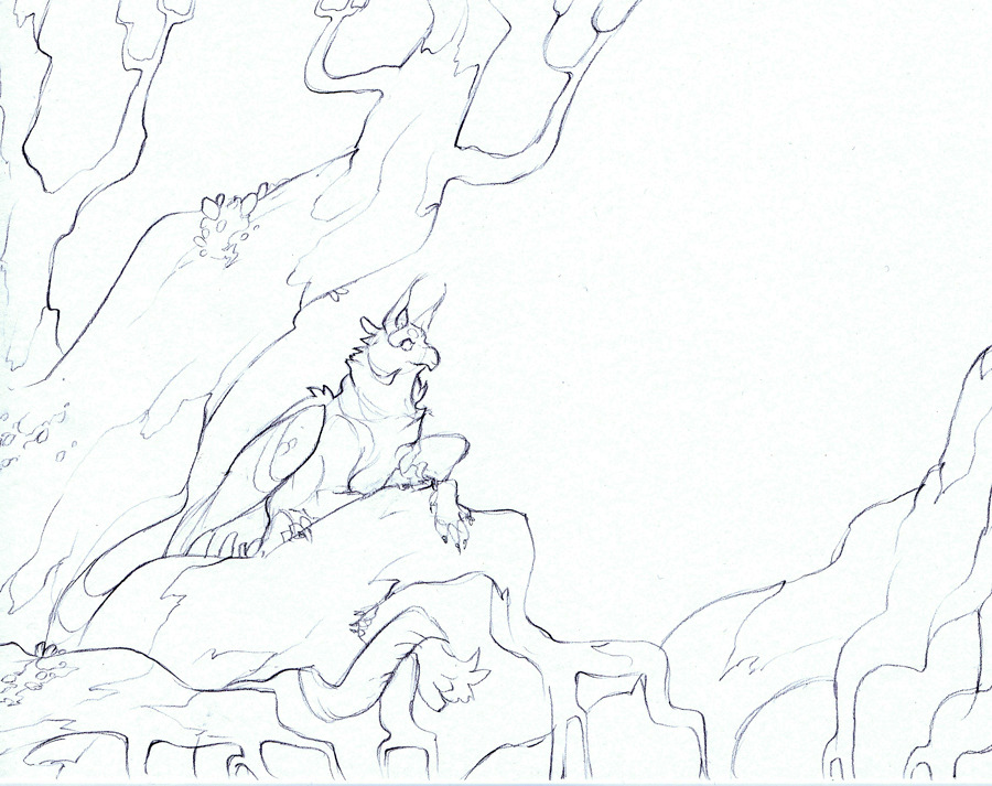 53. A watercolor painting I'm gonna finish in time for FWA. No colors yet, but at least the sketch is done. :'D