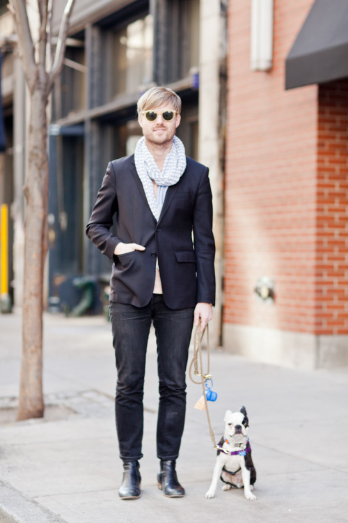 Sam Shipley of Shipley and Halmos and Pilot (French Bulldog) on Mercer Street. A nice blazer, scarf, jeans outfit, and Shipley and Halmos sunglasses.