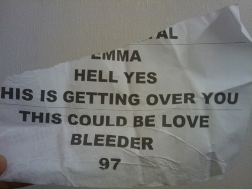 Piece of Alkaline Trio's set list from Sunday at musink