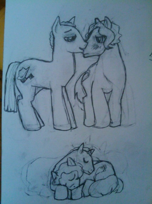 bombshellcatstudio:  Proof of part of the promised ponies for hitting the $200 mark!  Can you figure out who they are? (Hint: if you can't guess, the answer's in the tags.)  Version to scan is a little less awkward in the faces, and somebody looks less pissed and more embarrassed. Only 24 hours left.  Please help us get a little closer to our ultimate goal by donating here.