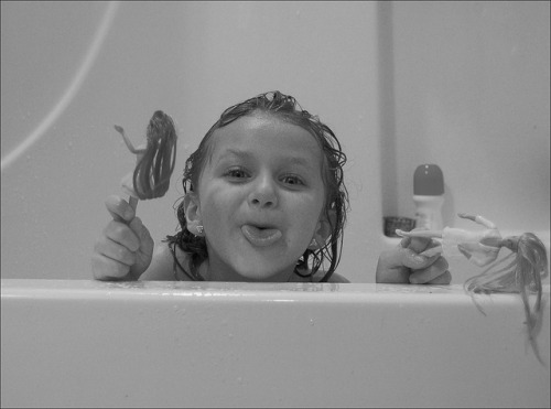 a 5 yr old & bath time on Flickr. My little sister. Taken by me.
