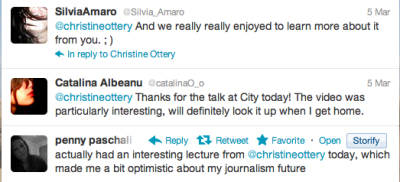 Wow! I think (at least some of) the Journalism undergrads at City University London enjoyed my talk on blogging. Frankly as 'digital natives' they probably know more about blogging and tweeting than I do, but I was happy to share my experiences with them and discuss how to blog as if you are already a professional journalist.  Forgot how much I loved teaching. Next stop (18-22 March): Bangladesh to speak with Environment Journalism MA students at Dhaka University about the future of environment journalism and getting their voices heard internationally.