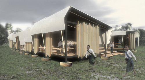 Winning design for School for Burma Competition. Now part of the Moving Schools campaign…