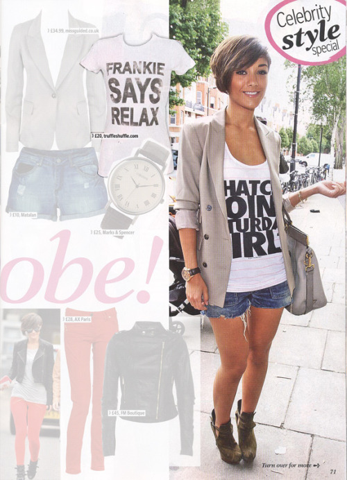 Steal Frankie from The Saturdays style with our Frankie Says Relax T-Shirt as seen in Reveal Magazine.