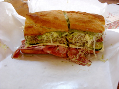Pastrami sandwich on french roll with sprouts, cucumber, lettuce, tomato and pepperjack cheese @Gus's, San Luis Obispo, CA