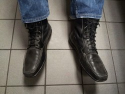 Calvin Klein mens nylon and leather charcoal grey ankle boots ……..AWESOME