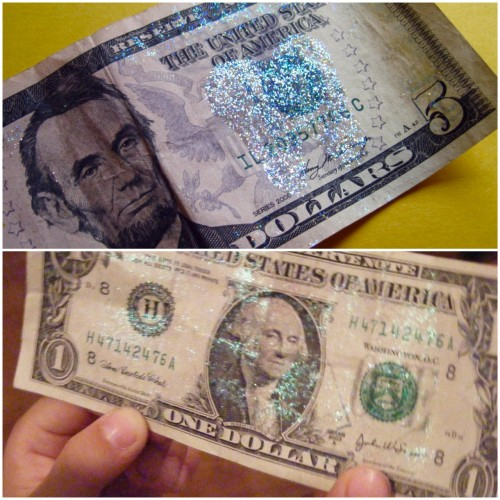 "DIY Tooth Fairy Money. Top Photo: glitter imprinted tooth money by The Southern Institute here.  Bottom Photo: fairy dust money by Ten Kids and a Dog here. EDIT: I got a phone call from my mom asking if it was legal to do this. Lots and lots of info on the internet says both yes and no. See one opinion from Ehow here:   Paper currency is legally defined as a ""national bank obligation,"" and as such, defacement is regulated by statute 18 USC 333, which states, ""[w]hoever mutilates, cuts, defaces, disfigures, or perforates, or unites or cements together, or does any other thing to any bank bill, draft, note, or other evidence of debt issued by any national banking association, or Federal Reserve bank, or the Federal Reserve System, with intent to render such bank bill, draft, note, or other evidence of debt unfit to be reissued, shall be fined under this title or imprisoned not more than six months, or both."" The key here is ""unfit to be reissued."" Drawing a moustache on George Washington does not render it unfit to be reissued; it is still easily identifiable as a dollar bill."