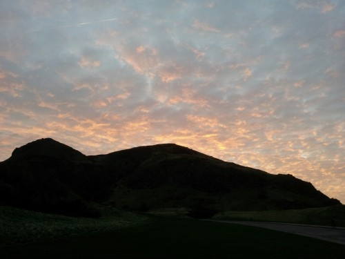 Another dawn run in Holyrood Park, looking up at the silhouette of Arthur's Seat.  Fantastic skies this morning.
