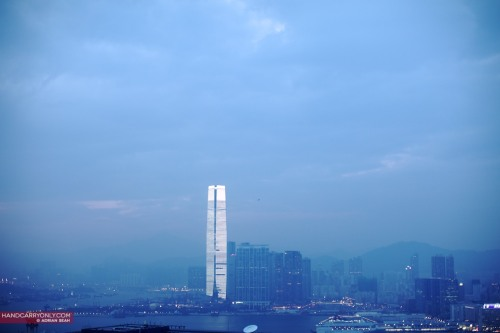 Tower of Light at Dusk| Hong Kong 2011 Like a futuristic monolith, the ICC rises up from the Kowloon skyline, almost defiantly, dwarfing the other 'skyscrapers' around it. It houses the highest hotel in the world, the Ritz-Carlton Hong Kong, quite literally the pinnacle of luxury. See my other photos of Hong Kong!