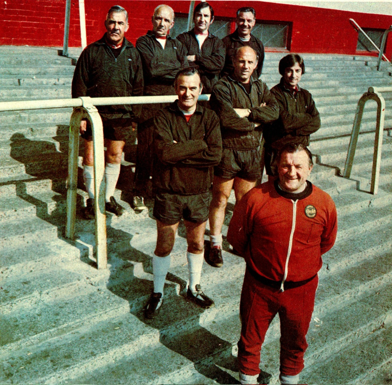 theredsgallery:  Liverpool manager Bob Paisley and the Boot Room boys pose for a photocall held at Anfield circa 1975. Photo: Steve Hale.Click here to buy a print of this picture for The Reds Gallery