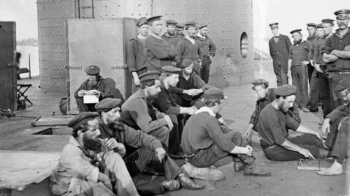 Have missing Civil War sailors in your family tree? The Monitor National Marine Sanctuary is looking for your help identifying these two fellas:   These are facial reconstructions from skeletons found in the wreck of the Civil War ironclad USS Monitor, which sank in 1862. I heard about this on NPR. Listen to the story. There are so many interesting things about this, including the fact that they were able to recover any remains at all from a 150-year-old shipwreck, including some soft tissue. Top image: Crewmen of the USS Monitor pictured in July 1862. Library of Congress, via NPR.Bottom two images: Louisiana State University, via NPR.