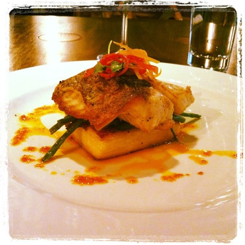 Sea bass with potatoes & green beans for lunch #cuisine #food  (Taken with instagram)
