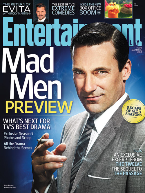 entertainmentweekly:  This Week's Cover: Jon Hamm and Co. gear up for the return of 'Mad Men' Watch an exclusive video with Jon Hamm at our Facebook fans only page!  Another nice EW cover this week with a sharp shot of Jon Hamm, who I just saw last night in Friends With Kids (more on that later). Forget basketball: March madness is all about Don Draper.