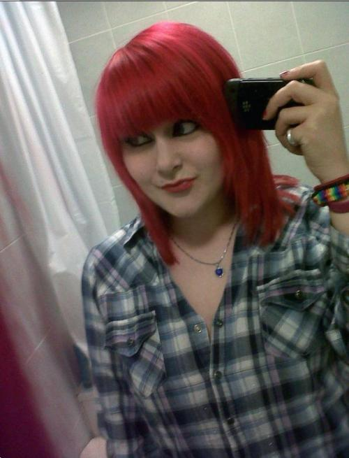 dooleysqueen:  For anon who asked for a photo of my new hair =) Soz for the pure emo pose lmao   I wasn't that anon but wow never go another color again! <3 Your eyes are so big and beautiful :) x