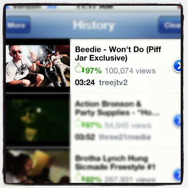 O shit! We just broke 100,000 views! @treejtv #beedie #wontdo #piffjar (Taken with instagram)