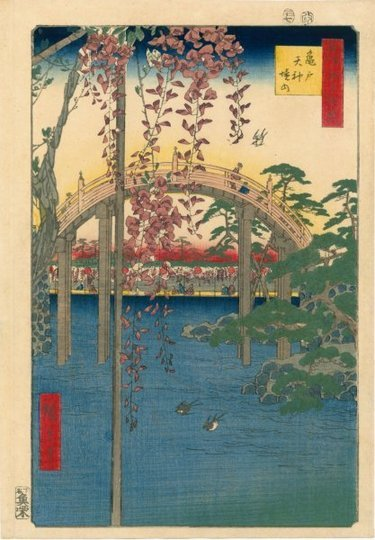 artlog:  Utagawa Hiroshige, Inside Kameido Tenjin Shrine, 1856. Courtesy of Egenolf Gallery Fine Japanese Prints and Drawings.