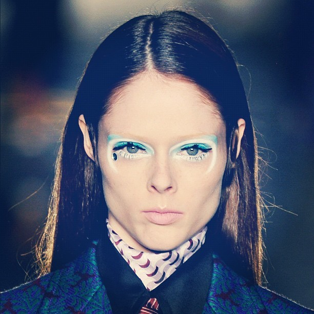 oh-so-coco:  The eye makeup for yesterday's Miu Miu show was amazing. Here's a detail shot. (Taken with instagram)
